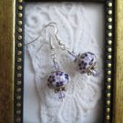 Purple Flower Painted Opaque White Bead Earrings, Free Shipping!
