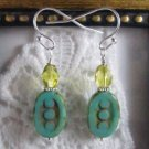 Handmade Turquoise Blue Czech Three Dot Oval Bead Earrings