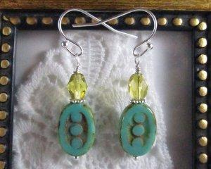 Handmade Turquoise Blue Czech Three Dot Oval Bead Earrings