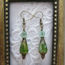 Handmade Faceted Green Drop Glass Earrings, Free Shipping!