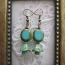 Turquoise Blue Czech Oval & Flower Earrings, Free Ship!