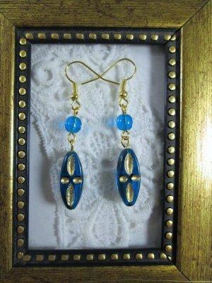 Handmade Czech Golden Etched Oblong Blue Glass Earrings