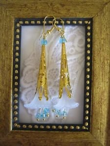 Gold Stemmed Blue Lily Earrings, Free Ship!