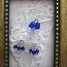 Handmade White Flower & Vivid Blue Crystal Earrings, Free U.S. Shipping!