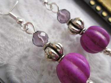 Handmade Matte Purple Melon Bead Earrings, Free U.S. Shipping!