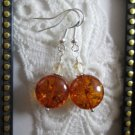Handmade Puffy Round Faux Amber Bead Earrings, Free U.S. Ship!