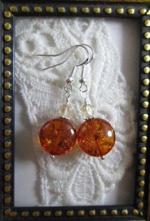 Handmade Puffy Round Faux Amber Bead Earrings, Free U.S. Ship!