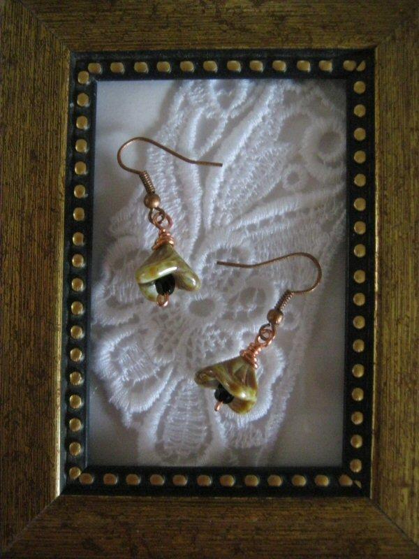 Light Brown Czech Flower Earrings, Free Ship!
