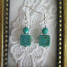 Turquoise Blue Square Czech Glass Earrings, Free U.S. Ship