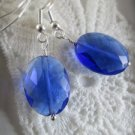 Handmade Jewel Cut Blue Oval Glass Earrings, Free U.S. Ship!