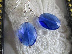 Handmade Jewel Cut Blue Oval Glass Earrings, Free U.S. Ship!