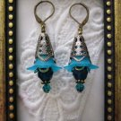Handmade Antique Style Sky Blue Flower & Crystal Earrings, Free Shipping!