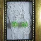 Handmade Light Green Lampwork Glass & Crystal Silver Tone Earrings