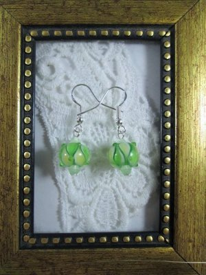 Handmade Light Green Lampwork Glass & Crystal Silver Tone Earrings