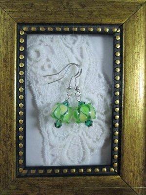 Handmade Green Lampwork Glass & Crystal Silver Tone Earrings