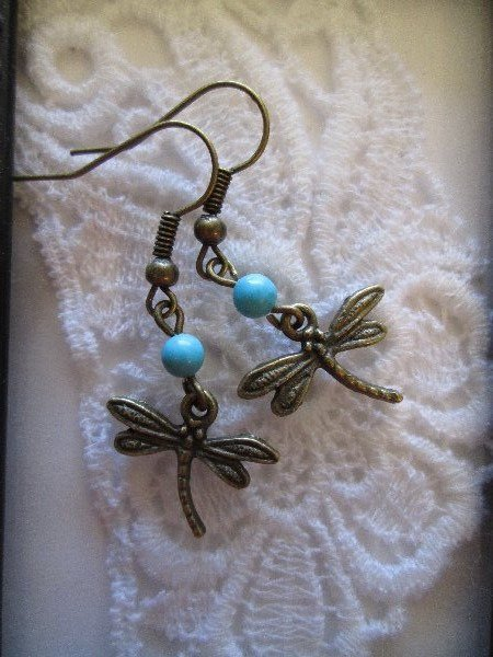 Dragonfly Charms & Turquoise Bronze Tone Earrings, Free Shipping!
