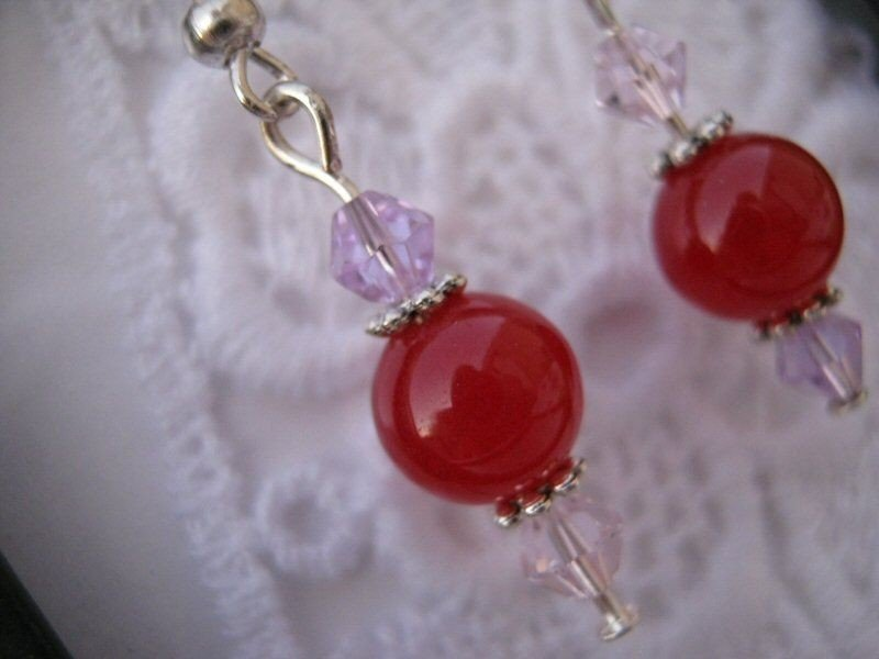 Handmade Ruby and Faceted Crystal Earrings, Free U.S. Shipping!