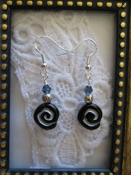 Handmade Black Spiral Glass Sterling Silver Earrings, FREE SHIP!