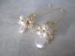 Handmade White Coin Pearl & Freshwater Pearl Bubble Chandelier Hoop Earrings
