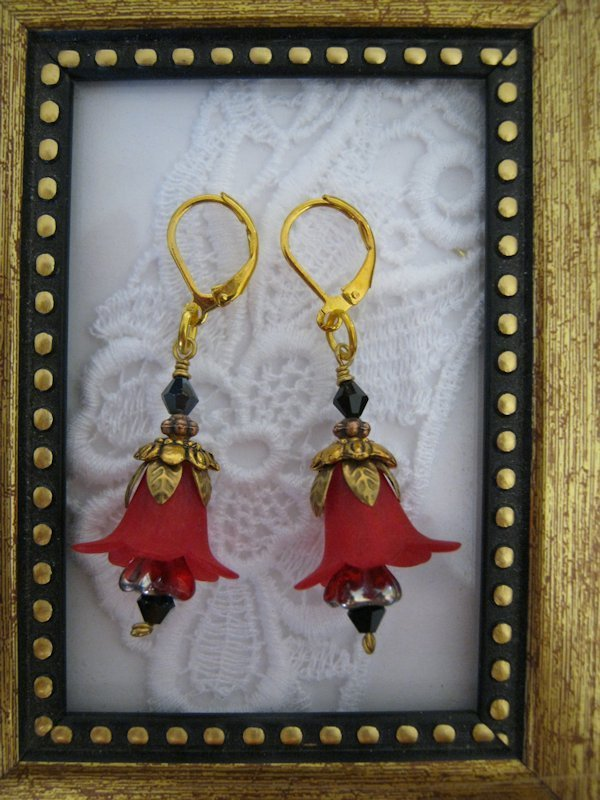 Handmade Gorgeous Red Flower Golden Earrings, Free U.S. Shipping!
