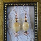 Oval Yellow Citrine & Honey Cathedral Copper Wire Earrings, Free U.S. Ship!