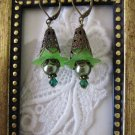 Handmade Antique StyleGreen Flower & Pearl Earrings, Free Shipping