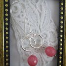 Handmade Milky Pink Jade & Silver Tone Hoop Earrings, Free U.S. Ship!