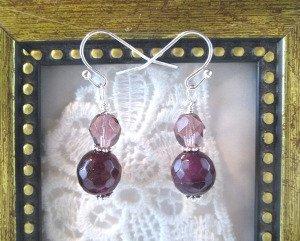 Handmade Purple Alexandrite and Czech Glass Silver Tone Earrings