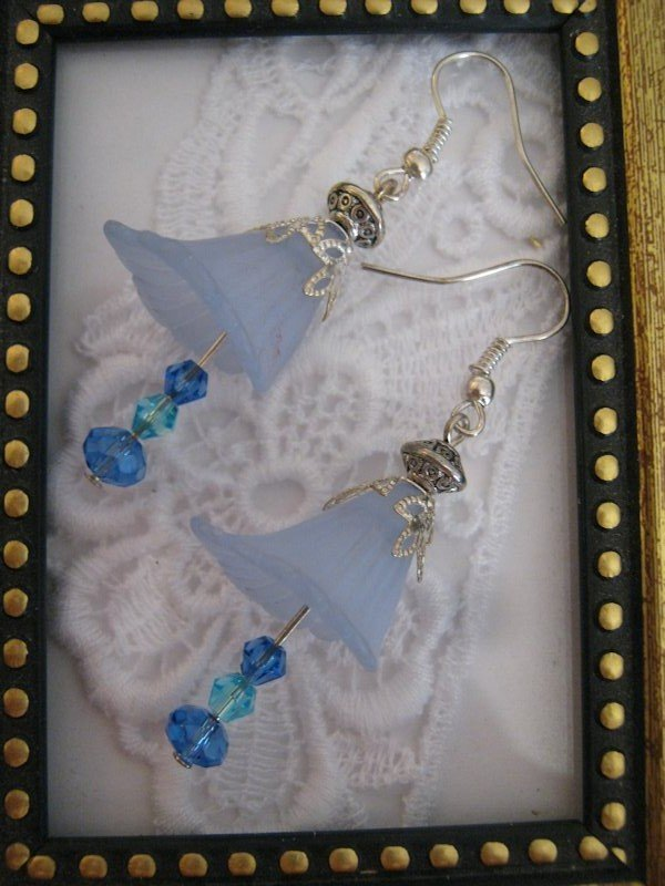 Handmade Light Blue Lily Flower & Crystal Earrings, Free U.S. Shipping!