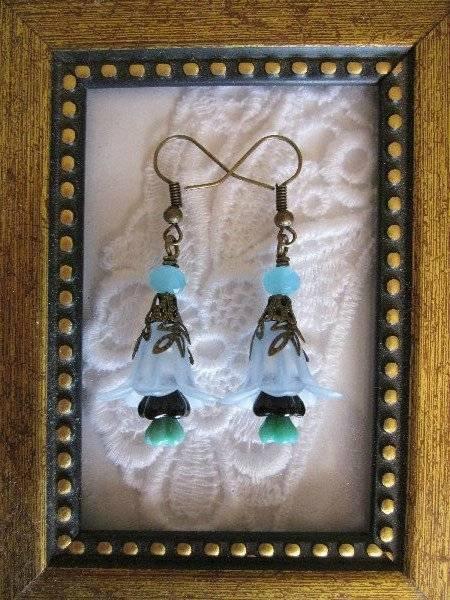 Handmade Gnorm Garden Blue Flower Earrings, Free U.S. Shipping!