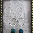 Green Azurite & Silver Tone Hoop Earrings, Free U.S. Ship!