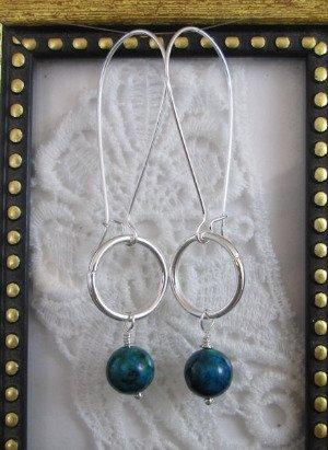 Green Azurite & Silver Tone Hoop Earrings, Free U.S. Ship!