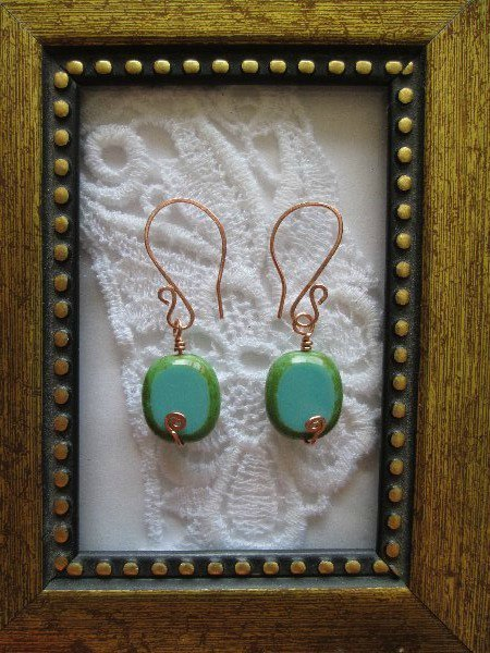 Copper Wire Wrapped Turquoise Czech Glass Earrings