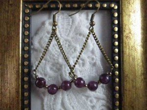 Handmade Purple Alexandrite Antique Bronze Tone Earrings