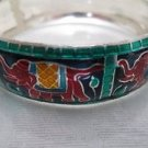 New Bangle Bracelet, Indian Red Elephant, Wood & Metal Combo Free U.S. Shipping!