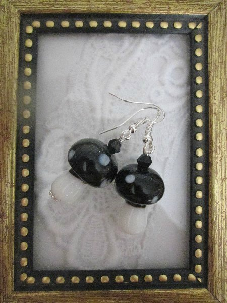 Handmade Black Mushroom Glass Earrings, Free Shipping!
