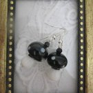 Handmade Black Mushroom Glass Earrings, Free Shipping!
