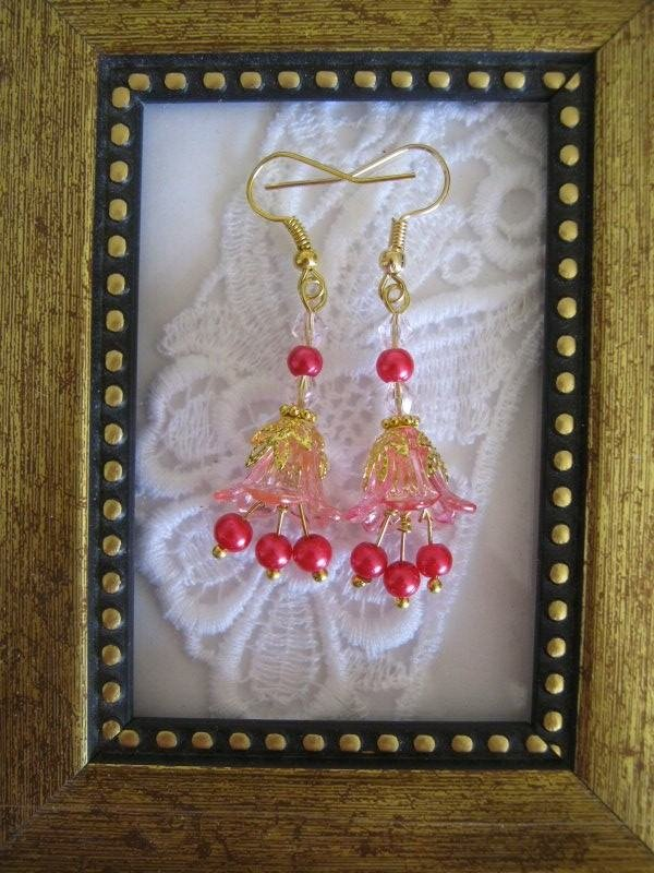 Pink & Gold Floral Earrings, Free Ship!