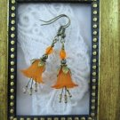Handmade Orange Flower & Czech Glass Antique Bronze Tone Earrings