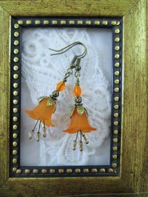 Handmade Orange Flower & Czech Glass Antique Bronze Tone Earrings