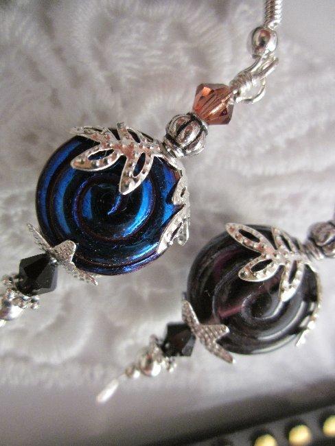 Handmade Licorice Purple Swirl Earrings, Free U.S. Shipping!