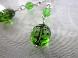 Handmade Green Czech Glass Lady Bug Silver Tone Earrings, Free U.S. Shipping!