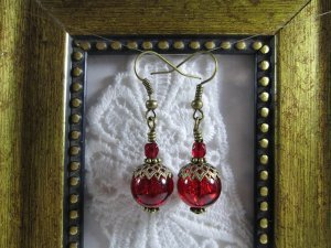 Red Crackled Glass Bronze Tone Earrings