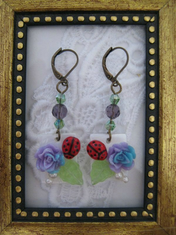 Purple Rose & Lady Bug Earrings, Free Ship!