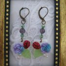 Purple Rose & Lady Bug Earrings, Free Ship!