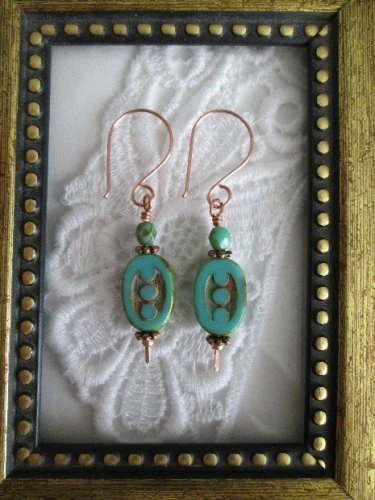 Handmade Turquoise Blue Oval Dotted Bead Copper Earrings