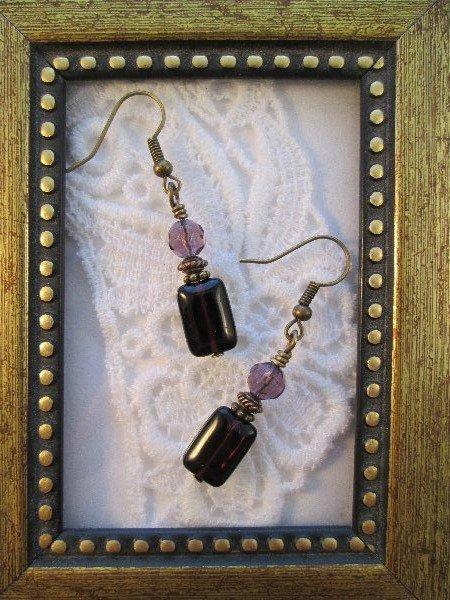 Rectangle Purple Glass Bronze Tone Earrings, Free Ship!