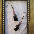 Rectangle Purple Glass Bronze Tone Earrings, Free Ship!