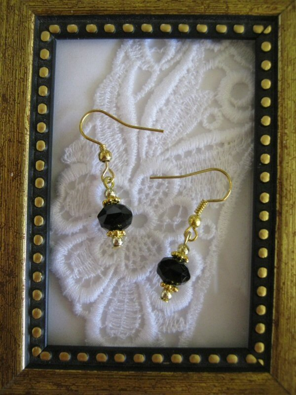 Simple & Pretty Black Faceted Crystal Earrings, Free Shipping!
