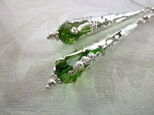 Handmade Green Faceted Drop Glass Long Filigree Silver Cone Earrings